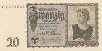 20 Reichsmark 1939(1945) Deutsches Reich,Drittes Reich, Ro.178a Udr.Bst... 22,99 EUR  zzgl. 1,80 EUR Versand