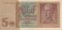 5 Reichsmark 1942 Deutsches Reich,Drittes Reich, Ro.179a, KN 7stellig, ... 6,99 EUR  zzgl. 1,80 EUR Versand