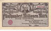 500 Millionen Mark, 1923 Freie Stadt Danzig, Ro.807b Randdruck gelb, le... 109,99 EUR  Excl. 10,00 EUR Verzending
