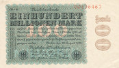 100 Millionen Mark, 1923 Deutsches Reich,Weimarer Republik, Ro.106r Wz.... 29,99 EUR  zzgl. 1,80 EUR Versand