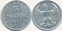3 Mark 1922 Mz.A Deutsches Reich,Weimarer Republik, J.302 ohne Umschrif... 4,99 EUR  zzgl. 1,80 EUR Versand