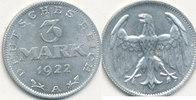 3 Mark 1922 Mz.A Deutsches Reich,Weimarer Republik, J.302 ohne Umschrif... 3,99 EUR  zzgl. 1,80 EUR Versand
