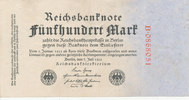 Deutsches Reich,Weimarer Republik, 500 Mark Ro.71a KN 7stellig rot,