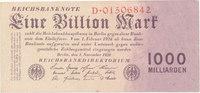 1 Billion Mark 1923 Deutsches Reich,Weimarer Republik, Ro.126a, Reichsd... 69,99 EUR  Excl. 7,00 EUR Verzending