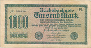 1000 Mark 1922 Deutsches Reich,Weimarer Republik, Ro.75b, Wz.Hakenstern... 0,99 EUR  zzgl. 1,80 EUR Versand