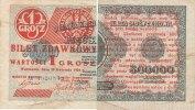 1 Grosz 1924 Polen gedruckt auf halben 500ooo Zloty Schein gebraucht III-  49,99 EUR  Excl. 7,00 EUR Verzending