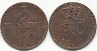 3 Pfenninge 1853 A Altdeutschland Mecklenburg-Schwerin vz-st  29,99 EUR  zzgl. 1,80 EUR Versand