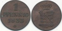 Altdeutschland 1 Pfennig 1833 G ss+ Sachsen 29,99 EUR 
