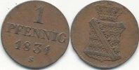 1 Pfennig 1831 S Altdeutschland Sachsen vz  49,99 EUR  Excl. 7,00 EUR Verzending