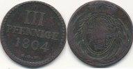3 Pfennige 1804 SGH Altdeutschland Sachsen, Grünthal s-ss  29,99 EUR  Excl. 4,00 EUR Verzending