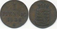 1 Pfennig 1838 G Altdeutschland Sachsen vz  34,99 EUR  Excl. 7,00 EUR Verzending