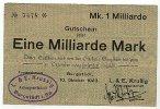 1 Mrd.Mark 10.Oktober 1923 Sachsen Burgstädt gebraucht III+  29,99 EUR  Excl. 4,00 EUR Verzending