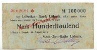 100ooo Mark 23.August 1923 Sachsen Lößnitz stark gebraucht IV-  39,99 EUR  zzgl. 4,00 EUR Versand