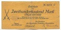 200ooo Mark 2.August 1923 Sachsen Meißen stark gebraucht IV-  49,99 EUR  zzgl. 4,00 EUR Versand