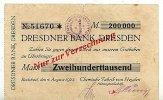200ooo Mark 4.August 1923 Sachsen Radebeul stark gebraucht IV, Einriss  29,99 EUR  Excl. 4,00 EUR Verzending