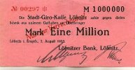1 Mio.Mark 7.August 1923 Sachsen Lößnitz gebraucht III-  49,99 EUR  Excl. 7,00 EUR Verzending
