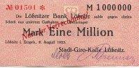 1 Mio. Mark 9.August 1923 Sachsen Lößnitz leicht gebraucht II+  39,99 EUR  Excl. 7,00 EUR Verzending