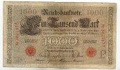 1000 Mark 10.September 1909 Deutschland Ro.39 stark gebraucht IV Einris... 34,99 EUR  Excl. 7,00 EUR Verzending