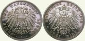 3 Mark 1913  A Lübeck  Polierte Platte. Fa...