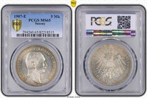 PCGS certified 5 Mark 1907  E Sachsen Friedrich August III. 1904-1918. PCGS MS 65