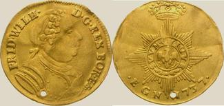 Dukat Gold 1737 Brandenburg-Preußen Friedrich Wilhelm I. 1713-1740. Gelocht, gewellt, sehr schön