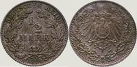 1/2 Mark 1908  E Kleinmünzen  Vorzüglich - Stempelglanz  25,00 EUR  zzgl. 2,00 EUR Versand