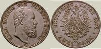 2 Mark 1876  F Württemberg Karl 1864-1891. Vorzüglich +  650,00 EUR kostenloser Versand