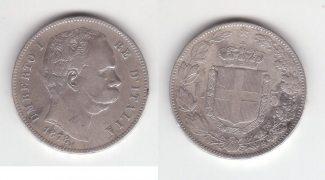 5 LIRE 1878 Italie Umberto Ier P.TB