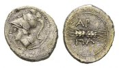 Greek    Apulia, Arpi. AR Diobol (16mm, 1.44g) Circa 215-212 BC 191.77 US$