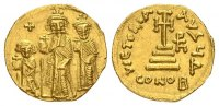 Heraclius AD 610-641, with Heraclius Constantine and Heraclonas. Gol... 607.01 US$