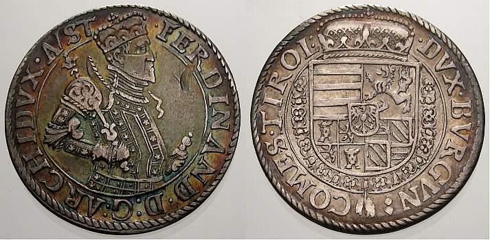 1/4 Taler 1564-1595 Haus Habsburg Erzherzog Ferdinand II. 1564-1595. Selten. Kl. Kratzer in Feld, sehr schön-vorzüglich mit schöner Patina