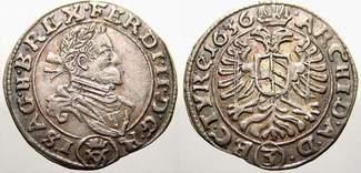3 Kreuzer (Groschen) 1636 Haus Habsburg Ferdinand II. 1619-1637. Sehr selten. Vorzüglich mit schöner Patina und Prägeglanz!