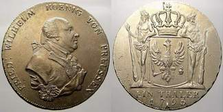 Taler 1795  A Brandenburg-Preußen Friedrich Wilhelm II. 1786-1797. Min. justiert. Prägefrisch