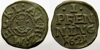 Cu 1 Pfennig 1621 Mecklenburg-Schwerin Adolf Friedrich I. 1610-1658. Seltene Münze und Erhaltung. Sehr schön+ mit schöner Patina