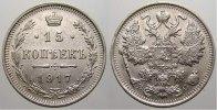 15 Kopeken 1917 Russland Zar Nikolaus II. 1894-1917. Selten. Vorzüglich... 150,00 EUR  zzgl. 5,00 EUR Versand