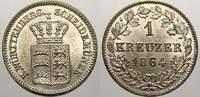 1 Kreuzer 1864 Württemberg Wilhelm I. 1816-1864. Stempelglanz  30,00 EUR