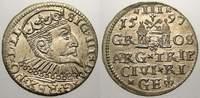 3 Gröscher 1 1597 Riga, Stadt Sigismund III. 1587-1632. Stempelglanz  150,00 EUR