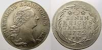 1/3 Taler 1772  A Brandenburg-Preußen Friedrich II. 1740-1786. Vorzügli... 175,00 EUR  zzgl. 5,00 EUR Versand