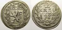 2 Kreuzer 1741 Hessen-Darmstadt Ludwig VIII. 1739-1768. Sehr schön  25,00 EUR  Excl. 5,00 EUR Verzending