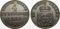 Cu 4 Pfennig 1870  A Brandenburg-Preußen Wilhelm I. 1861-1888. Sehr sch... 15,00 EUR  zzgl. 5,00 EUR Versand