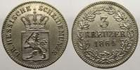 3 Kreuzer 1865 Hessen-Darmstadt Ludwig III. 1848-1877. Fast vorzüglich  15,00 EUR  zzgl. 5,00 EUR Versand