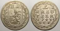 2 Kreuzer 1743 Hessen-Darmstadt Ludwig VIII. 1739-1768. Sehr schön-vorz... 15,00 EUR  zzgl. 5,00 EUR Versand