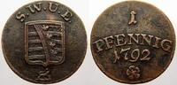 Cu 1 Pfennig 1792 Sachsen-Weimar-Eisenach Carl August 1775-1828. Sehr s... 95,00 EUR  zzgl. 5,00 EUR Versand