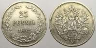 25 Penniä 1 1908  L Russland Zar Nikolaus II. 1894-1917. Winz. Kratzer.... 15,00 EUR  zzgl. 5,00 EUR Versand