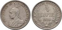 1/4 Rupie 1910 J. DEUTSCH-OSTAFRIKA  Sehr schön  35,00 EUR  zzgl. 4,50 EUR Versand