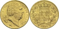 20 Francs 1820 W Frankreich Ludwig XVIII. 1814, 1815-1824 vz-  800,00 EUR