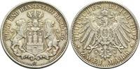 2 Mark 1907 J Hamburg, Freie und Hansestadt  Min. Rf., ss+  40,00 EUR  +  14,90 EUR shipping