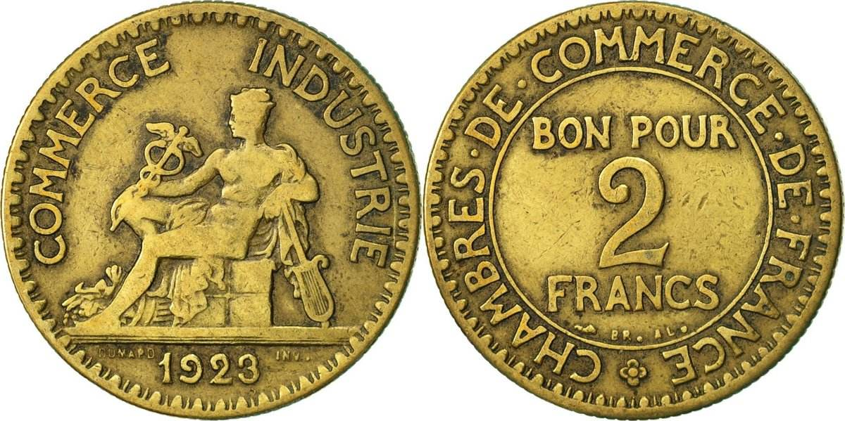 2 francs 1923 paris frankreich m nze chambre de commerce paris s s ma shops - Chambre de commerce de paris adresse ...