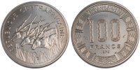 100 Francs 1975 Central African Republic  MS(65-70)  63.16 US$ 60,00 EUR  +  10.53 US$ shipping