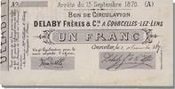 French Emergency of the 1870-1871 War 1 Franc 1870 Courcelles-Lez-Lens s... 350,00 EUR